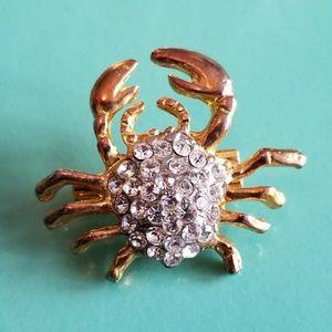 Tiny rhinestone crab brooch pin Joe's Stone Crab